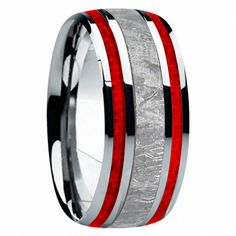 com Carries A Full Selection Of Men's Wedding Rings Including Black Diamond, Meteorite, Antler And Exotic Inlays. Wedding Rings Simple, Custom Wedding Rings, Wedding Ring Designs, Wedding Jewelry, Unique Rings, Beautiful Rings, Unique Jewelry, Titanium Wedding Rings, Diamond Wedding Rings