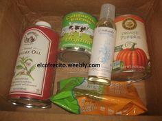 Noveno Haul de Vitacost: Aceite de sesamo La Tourangelle, aceite de almendras para hidratar la piel y el pelo Glonaturals, una lata de leche condensada organica California Farms, una lata de calabaza organica Farmer's Market y un paquete de algas Sea's Gift.