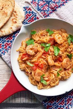 This one-pan dinner takes just 25 minutes. Orzo Recipes, One Pan Dinner, Sweet Chilli, Delicious Dinner Recipes, Prawn, Coriander, Cherry Tomatoes, Seafood, Stuffed Peppers