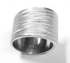 Aluminium ring with lines texture on Etsy €20.00