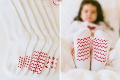 DIY No-Slip Socks with puffy paint. Simple patterns like dots and lines work best because the paint cracks over time. | Hellobee
