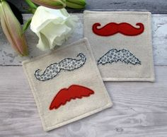 Retro Moustache Coasters, Set Of 2 Fabric Drinks Coasters £10.00