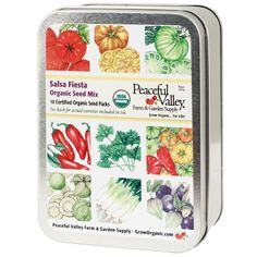 Salsa Sale! Stock up now for next summer with our custom seed tin of 10 must-have salsa seeds. Gift Seed Tin - Salsa Fiesta Collection