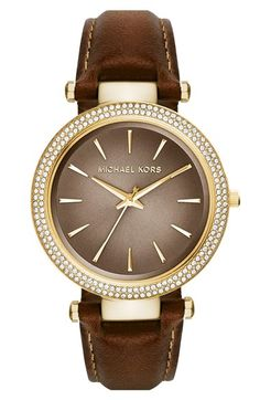 MICHAEL Michael Kors Michael Kors  Darci  Crystal Bezel Leather Strap  Watch da859dd9e05