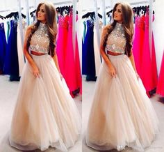 New Arrival 2015 Two-piece Prom Dresses Crystal Beaded High Neck A-Line Champagne Tulle Long Evening Dresses Plus Size Pageant GownsPear,2015 Fall Winter outfits