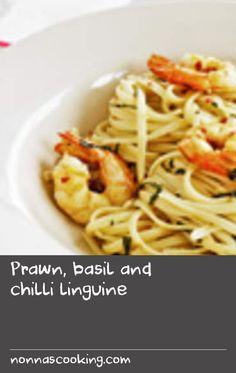 Prawn, basil and chilli linguine