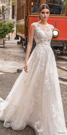naviblue 2019 bridal sleeveless illusion bateau neck full embellishment classy a collection wedding dress sheer button lace back chapel train lv -- Naviblue 2019 WEDDING GOWNS Wedding Inspirasi wedding ceremony weddings wedding weddingdress bride Sheer Wedding Dress, Wedding Dress Trends, Perfect Wedding Dress, Lace Dress, Dream Wedding, Modest Wedding, Fall Wedding, Bateau Wedding Dress, Wedding Dress Buttons