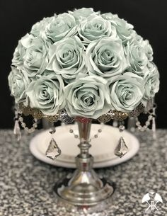 DUSTY SAGE Rose Arrangement. SAGE Wedding Centerpiece. Floating Pomander. Sage Bouquet. Sage Wedding Décor. Pick Color. Sage Centerpiece Sage Wedding, Dusty Rose Wedding, Green Wedding, Light Blue Roses, Lilac Roses, Blue Centerpieces, Wedding Centerpieces, Pool Party Decorations, Wedding Decorations