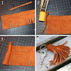 DIY Basteln selber machen Anleitung Reste Key Leder Schlüsselanhänger