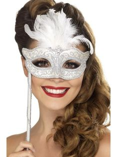 Hide your face at your next masked ball behind this baroque fantasy eye mask.This exciting mask is perfect for making you shine at the party. This mask is eas Masquerade Makeup, Silver Masquerade Mask, Masquerade Fancy Dress, Masquerade Party, Masquerade Tattoo, Halloween Masquerade, Fancy Dress Accessories, Costume Accessories, Mascarade Mask