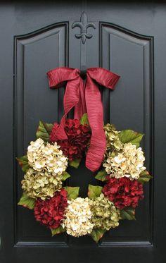 WREATH SALE 15% 0FF Holiday Hydrangea Wreaths by twoinspireyou