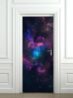 Space Wall Decal Galaxy Wall Sticker Door Mural Galaxy Planets Wallpaper Space Door Sticker Door Sticker Home Design Door Covering