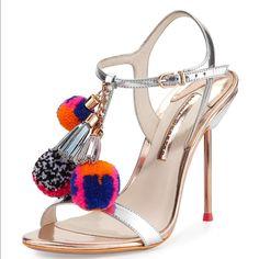 Sophia Webster Shoes | Sophia Webster Pom Pom Shoe | Color: Silver | Size: 7 T Strap Sandals, Dress Sandals, Ankle Strap, Strappy Sandals, Shoes Sandals, Heeled Sandals, Metallic Sandals, Leather Sandals, Silver Sandals