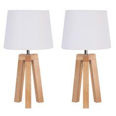 Lot de 2 lampes de chevet trépied en bois et coton hauteur 40cm Stockholm