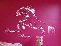 horse girl vinyl  | Jumping Horse Girls Room Name Vinyl Wall ART Decor Sticker Kids Rooms ...