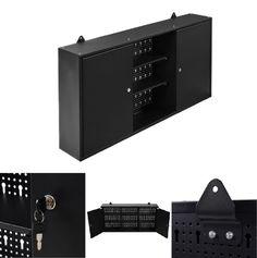 Garage Storage Cabinet Wall Mount Hanging Parts Tool Box Organizer 3-Shelf Black