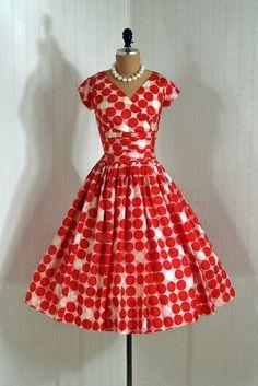 Party Dress, Lucinda, California: 1950's, silk polka-dot print, plunge ruched cummerbund bodice, tulle-lined skirt.