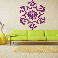 Wall decal art decor decals sticker hands Buddhism India Mandala Indian positive flower OM Yoga success god lord (m62)