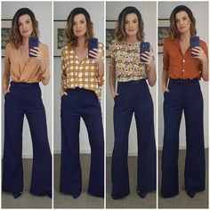 Moda Femenina I arrange some social seems with the navy blue pants, the identical because the final Blue Trousers Outfit, Navy Blue Dress Pants, Trouser Outfits, Capri Outfits, Chic Outfits, Marine Hose, Look Office, Pantalon Large, Style Casual
