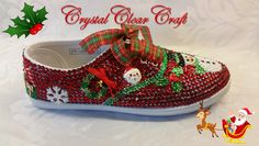 Christmas Shoes, Red Christmas, Decoupage Shoes, Music Shoes, Red Trainers, Clear Shoes, Red Pumps, Glitter Shoes, Unique Shoes