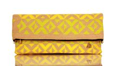 Handwoven Yellow and Acid Green fold-over zip clutch
