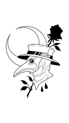 Dark Art Drawings, Pencil Art Drawings, Art Drawings Sketches, Tattoo Sketches, Doctor Tattoo, Mask Drawing, Body Art Tattoos, Crow Tattoos, Phoenix Tattoos