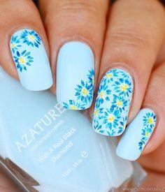 50 flower nail art designs is part of Blue nail designs - 50 Flower Nail Art Designs Beautifulart Blue Simple Nail Art Designs, Nail Designs Spring, Nail Art Flowers Designs, Light Blue Nail Designs, Trendy Nail Art, Cool Nail Art, Spring Nail Art, Spring Nails, Summer Nails