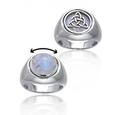 Sterling Silver Celtic Knot Triquetra Moonstone Reversible Flip Ring