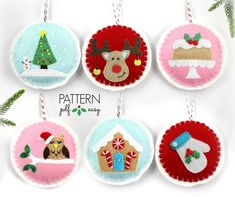 Christmas Ornament Set Sewing Pattern - Everyone will love these cute Christmas ornaments. All stitched by hand, they make the perfect sewing patterns for beginner/intermediate sewers. You will receive patterns and instructions to make the following ornaments: Christmas Tree Lights
