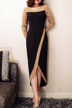 Color Block Maxi Tulip Dress