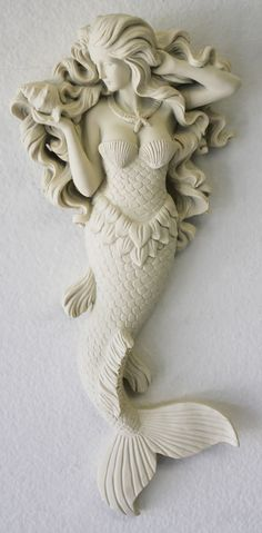 Mermaid Wall Figure with Flowing Hair - Hanging Nautical Mermaid - Coastal Beach Decor
