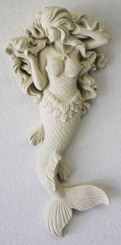 Mermaid Wall Figure with Flowing Hair - Hanging Nautical Mermaid - Coastal Beach Decor