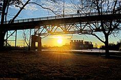 Sunset under Burlington-Bristol Bridge, on the Burlington side of the river.