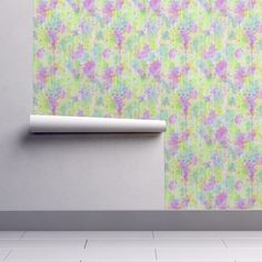 Isobar Durable Wallpaper featuring WATERCOLOR ABSTRACT TENDERNESS LIME PURPLE SPRING by paysmage | Roostery Home Decor