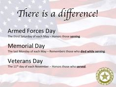 Know the difference: Armed Forces Day, Memorial Day, Veterans Day defined. Military Quotes, Military Life, Military Service, Army Quotes, Army Life, Military Spouse, Military History, Military Holidays, Veterans Day Quotes