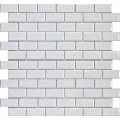 Merola Tile Metro Subway Glossy White 11-3/4 in. x 11-3/4 in. x 5 mm Porcelain Mosaic Floor and Wall Tile (9.6 sq. ft. / case)-FXLMSSW at The Home Depot ($5.95 ft)