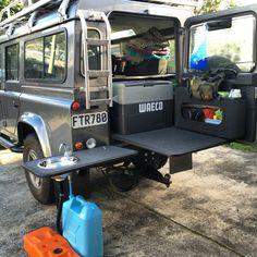 Land Rover Defender 110 Camp Kitchen. Custom design and build at home. Melissa Laver/Argosy Adventure. Fridge Slide Drawer Slide. 4WD camp kitchen.
