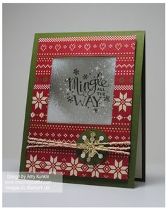 Trim the Tree Paper (with a tip on turning white to a vanilla look), Mingle all the Way and Holiday Invitation stamps - Frosted Window Technique - video tutorial for technique in the post.