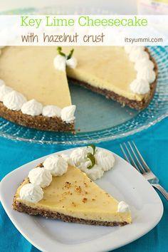 Key Lime Cheesecake with hazelnut crust from ItsYummi.com
