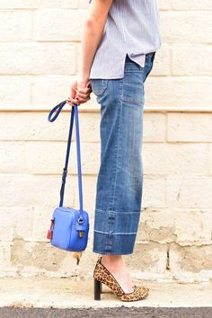 aec89d4b409b Conni shares a few tips for styling Pilcro wide leg mid rise crop jeans and  striped