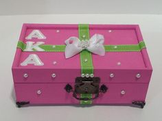 Custom Greek Jewelry/ Keepsake/Trinket Boxes/ Pin Boxes Personalize it with your Initials, Line etc. Send me a msg to customize or ask for Sorority Pin Box, Aka Sorority, Alpha Kappa Alpha Sorority, Sorority Gifts, Sorority And Fraternity, Wishing Well Wedding, Greek Crafts, Gift Card Boxes, Bridal Shower Rustic