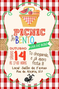 Convite Cha de Bebe Picnic Cha de Fraldas Picnic Invitations, Birthday Party Invitations, Birthday Party Themes, Party Favors, Picnic Birthday, Picnic Time, First Birthdays, Kids Picnic Parties, Construction Birthday Invitations