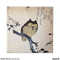 Asian Owl Small Square Tile #Owl #Bird #Fashion #Japan #Japanese #Asian #Dish #Tile