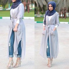 Hijab and abayas is modest Islamic clothing staple attire of women wardrobes either tradition of tre Islamic Fashion, Muslim Fashion, Modest Fashion, Look Fashion, Girl Fashion, Fashion Outfits, Fashion Heels, Trendy Fashion, Moda Hijab