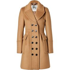 BURBERRY LONDON Cashmere-Wool Winstan Coat In Ochre Brown ($1,115) ❤ liked on Polyvore featuring outerwear, coats, jackets, coats & jackets, burberry, cashmere coat, brown cashmere coat, beige coat, brown double breasted coat and brown coat