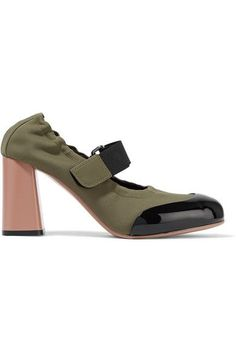 96f53032724bf0 Marni - Patent Leather-trimmed Neoprene Pumps - Army green Marni Shoes