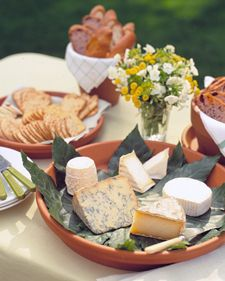 Terracota flower pots and saucers as serving dishes for outdoor party or Barbeque - super neat idea!