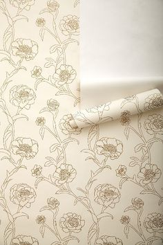 Inked Peonies Wallpaper - anthropologie.com.  For an accent wall.  And let her color/paint the flowers?