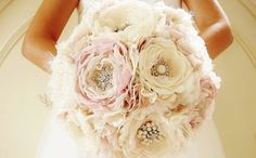 Fabric Brooch Bouquet, Fabric Flower Bouquet, Bridal Bouquet, Wedding Bouquet, Light Pink/Blush and Off White/Ivory, DEPOSIT PAYMENT