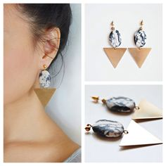 Lovely geometric earrings with marble effects Zebra Jasper stone and gold plated brass triangle Meet Market, Marble Effect, Jasper Stone, Triangle, Pearl Earrings, Brass, Gold, Passion, Jewelry